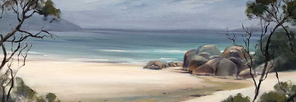 Silver hues, Squeaky Beach. Oil on canvas. 92 x 61cm.