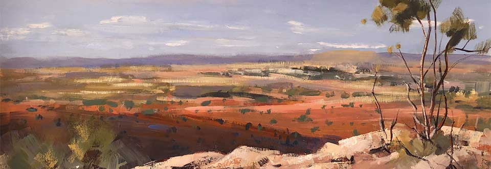 Towards Broken Hill. Oil on canvas. 46.5 x 34cm.
