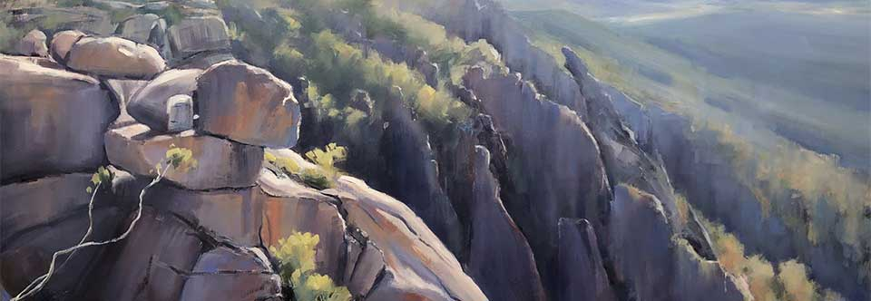 Mt Buffalo vista. Oil on canvas. 90 x 60cm.