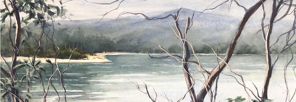 Peaceful vista, Tasmania. wc. 51 x 36cm