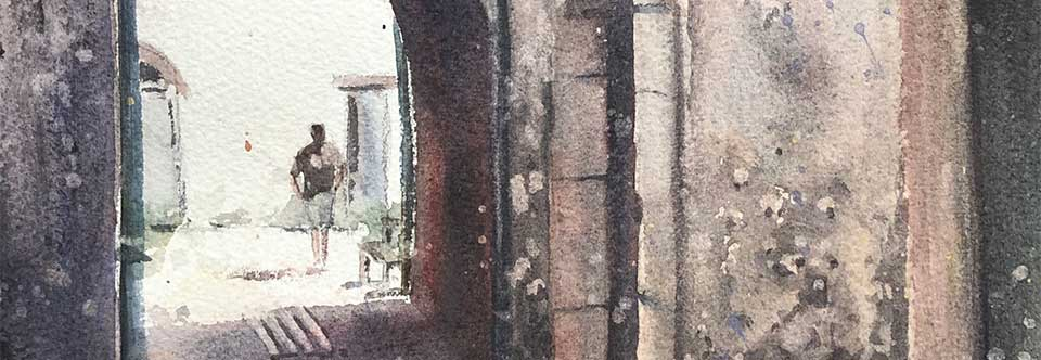 Forgotten laneways, Provence. Wc. 25 x 35cm